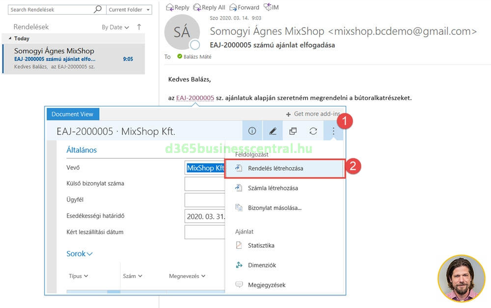Business Central Outlook add-in rendelés létrehozása